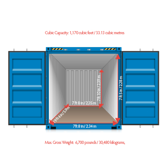 20 ft container internal dimensions
